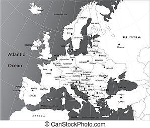 político, mapa, de, europa