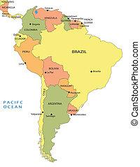 político, mapa, de, sudamérica