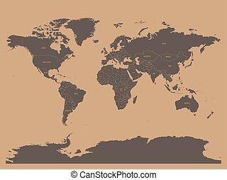 político, mapa mundo, em, chocolatte, marrom, colors., eps10, vetorial, ilustração
