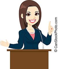 político, mulher, fala