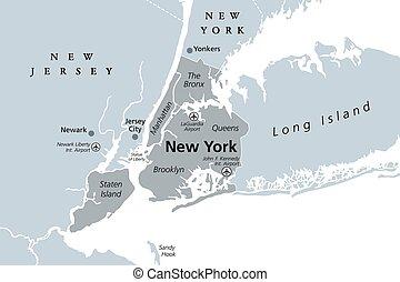 político, nuevo, ciudad, mapa, gris, york
