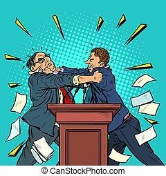 político, pelea, políticos, debates