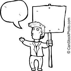 político, protesta, caricatura