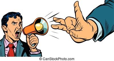 político, protesta, o, anuncio, y, reacción