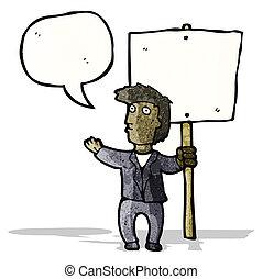 político, protesto, caricatura