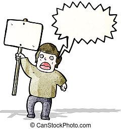 político, protestor, com, painél publicitário