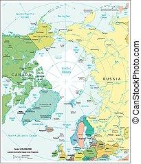 político, região, ártico, divisões