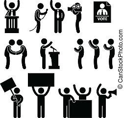 político, reportero, elección, voto