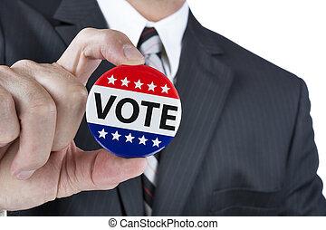 político, voto, insignia