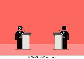 políticos, debater, stage.