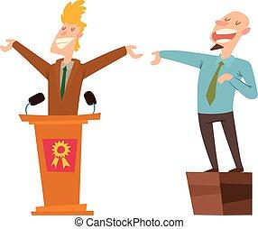 políticos, gente, vector, set.