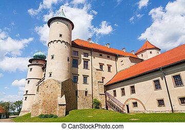 polônia, castelo, wisnicz, nowy, vista