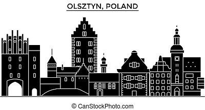 polônia, olsztyn, arquitetura, vetorial, horizonte cidade, viagem, cityscape, com, marcos, edifícios, isolado, vistas, experiência