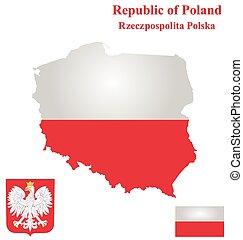polônia, república, bandeira
