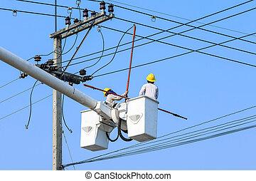 pol, elektriker, elektrisk, arbete