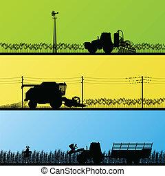 pola, kulturalny, żniwiarze, ilustracja, traktory, wektor, ...