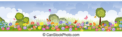 pola, kwiat, brzeg, seamless