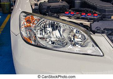 polacco, automobile, fronte, lampada