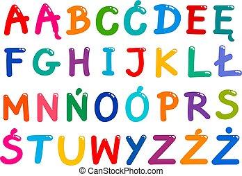 polacco, tutto, set, lettere, alfabeto