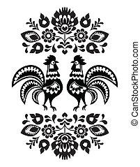polaco, étnico, bordado, floral