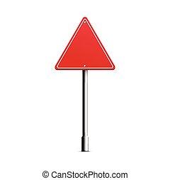 polaco, espaço cópia, realístico, triangulo, estrada vermelha, metal, sinal branco