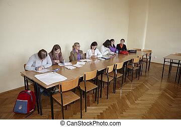 polaco, estudantes, em, final, exame