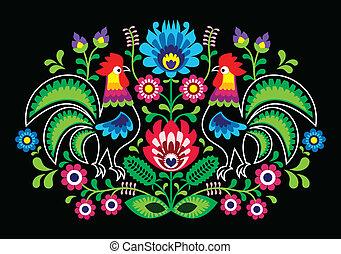 polaco, gallos, bordado, floral