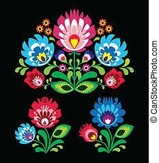 polaco, gente, bordado, floral