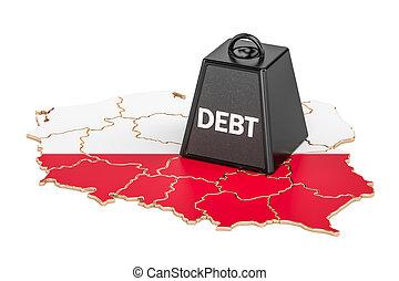 polaco, nacional, deuda, o, presupuesto, déficit, financiero, crisis, concepto, 3d, interpretación