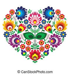 polaco, olk, arte, bordado, corazón