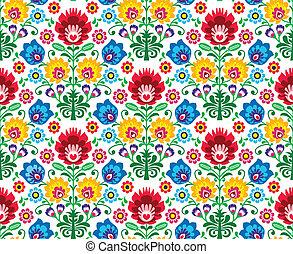 polaco, patrón, seamless, floral