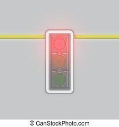 polaco, só, glowing, lâmpada, vermelho, ilustração, nebuloso, realístico, vetorial, tráfego