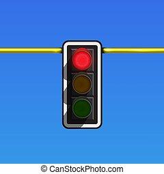polaco, só, glowing, lâmpada, vermelho, ilustração, realístico, vetorial, tráfego