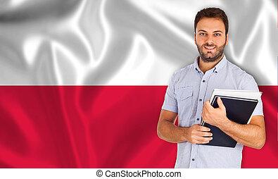 polaco, sorrindo, sobre, bandeira, estudante