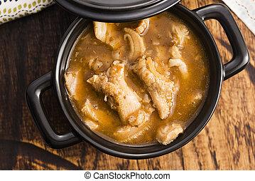 polaco, tripa, carne de vaca, sopa