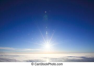 polair, hemel, met, zon