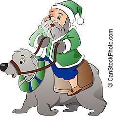 polair, oud, illustratie, beer, paardrijden, man
