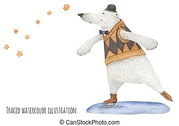 polair, schaatsen, sterretjes, beer, onder