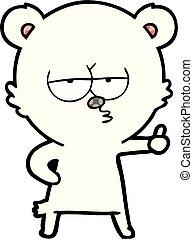 polaire, abandon, ours, signe, pouces, percé, dessin animé