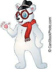 polaire, casquette, ours, hipster, écharpe, lunettes