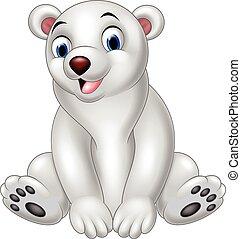 polaire, dessin animé, ours, séance
