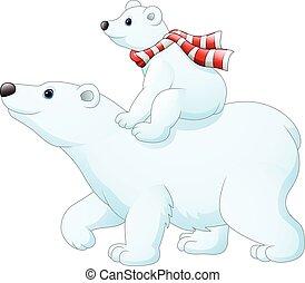 polaire, elle, mère, dos, ours, bébé, équitation, dessin animé