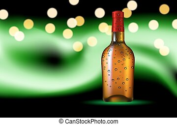 polaire, lueur, bouteille, fond, rosée
