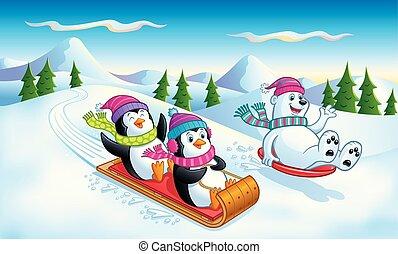 polaire, pingouins, ours, sledding