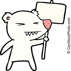 polaire, protestation, dessin animé, ours, signe
