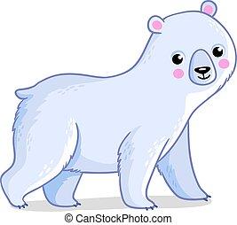 polaire, with., illustration, arrière-plan., vecteur, ours, blanc