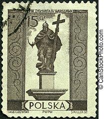 POLAND - CIRCA 1955: A stamp printed in Poland shows Sigismund III Vasa (1566-1632), Warsaw monuments, circa 1955