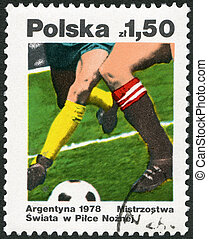 POLAND - 1978: shows Soccer, dedicated the 11th World Cup Soccer