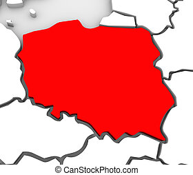 Poland Abstract 3D Map Northern Eastern Europe