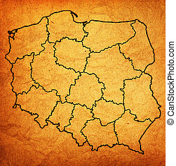 Poland administrative divisions Polish regions on stock photo